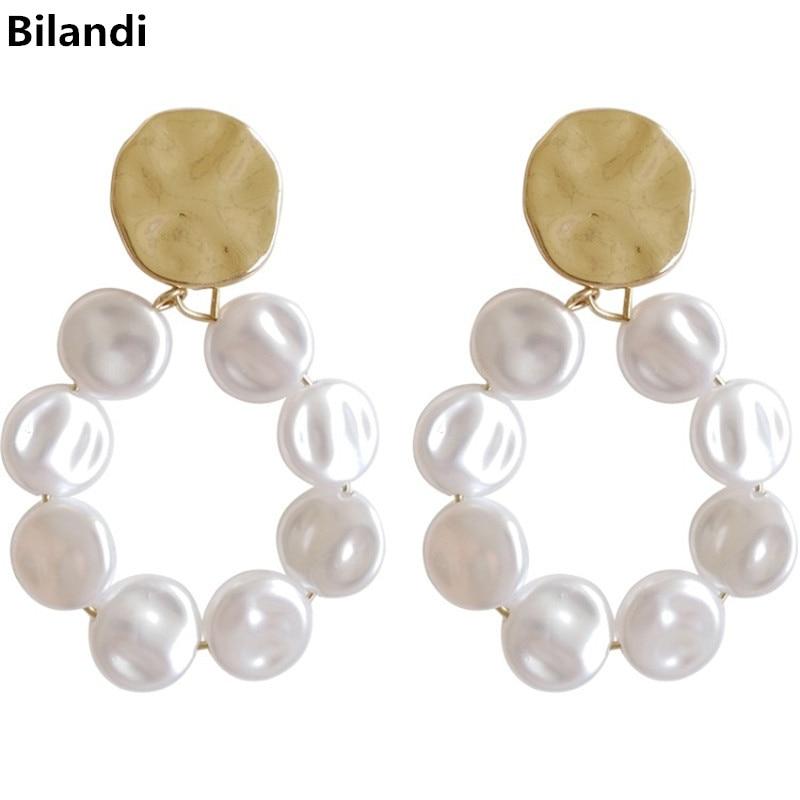 Fashion New Designs Jewelry Beaten Metal Oblate Pearls Earrings For Women