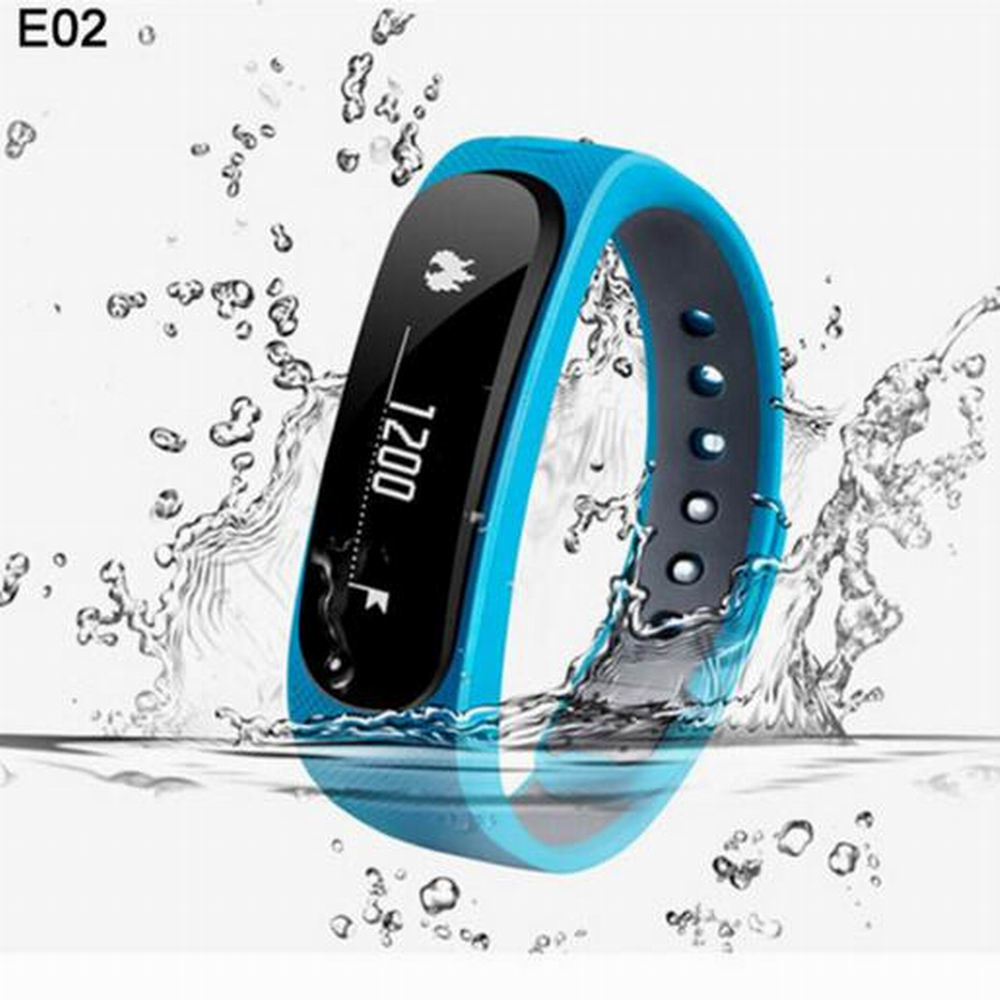 E02 Outdoor Sports Fitness Smart Band Wristband Pedometer Sleep Monitor Heart Rate Monitor Alarm Clock for cellphone  IOS Andrio
