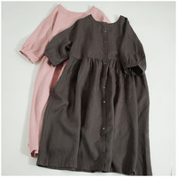 Spring Autumn Women Loose Plus Size Brief Comfortable 9*9 Water Washed Linen Dresses