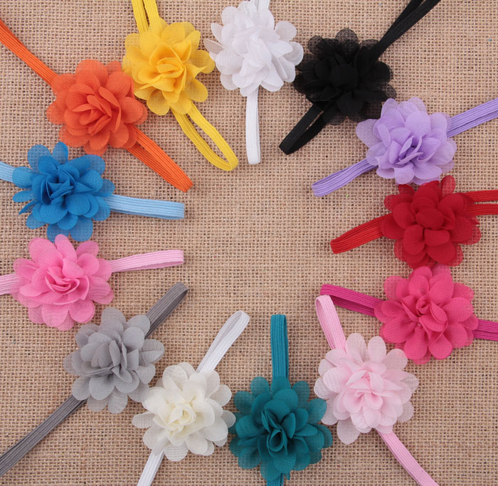 Yundfly 10pcs Boutique Newborn Elastic Chic Chiffon Flower Headband Baby Girls Hair Band