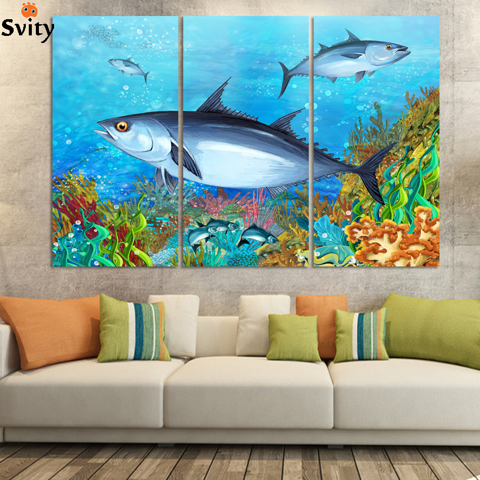 3panel /set New ocean fish Paintings for childrens bed room oil painting picture Home Decor undersea world no frame D049