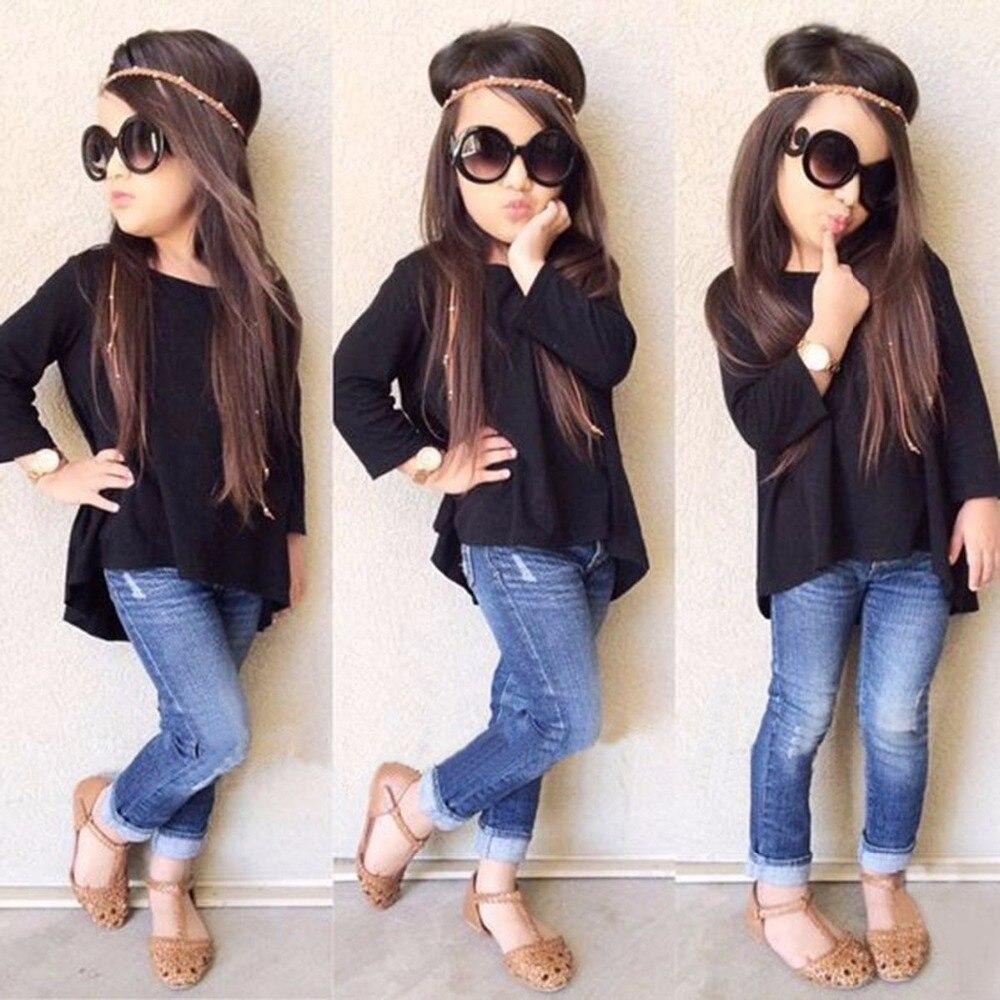 2017 Fashion Toddler Kids Clothing Set Baby Girls Solid Black Long T shirt Tops Jean Denim
