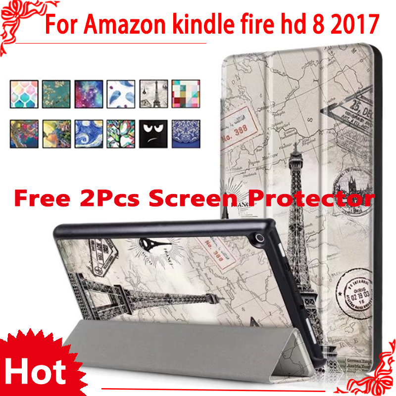 Case For Amazon 2017 New Kindle Fire HD 8 Painted Print PU Leather Flip Smart Cover Case For kindle fire hd8 2017 new lychee grain protective 360 degree rotation pu leather case for amazon kindle fire hd 7 black
