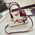 Chinese style ! shell women bag printing shoulder bags pu leather women handbags floral bolsa feminina luxury handbags dollar