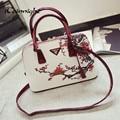 Iceinnight shell bolso de las mujeres bolsos de hombro de cuero de la pu de las mujeres de impresión floral bolsos bolsa feminina bolsos de lujo dólar