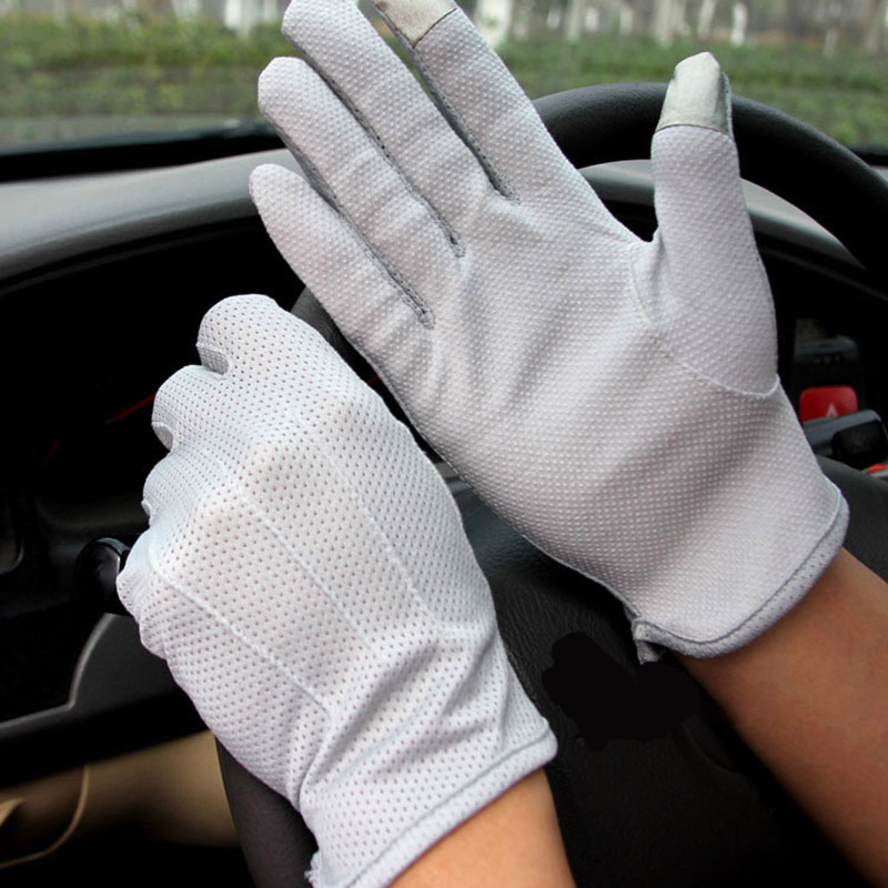 New Men's Summer Outdoor Sports Fitness Cycling Sunscreen Short Sun Gloves Thin Cotton Fashion Touch Screen Driving Gloves L20