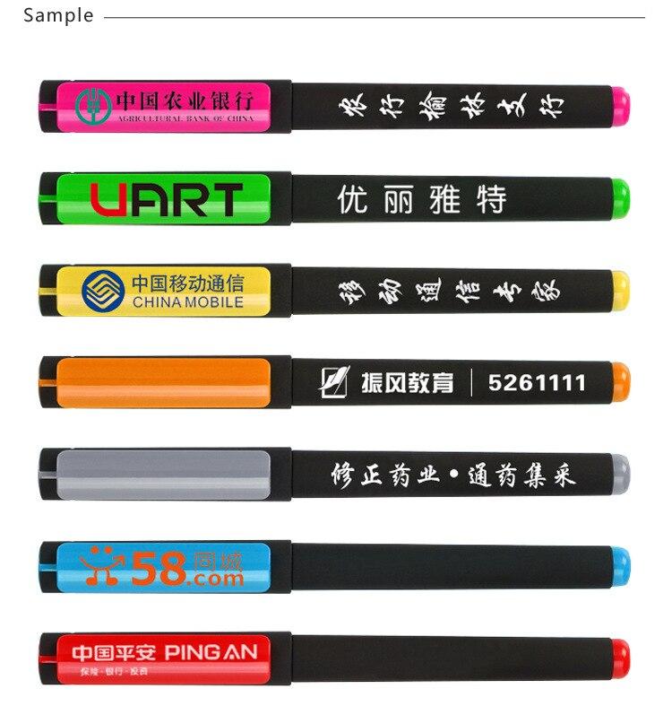 0,5mm negro tinta 500 unids/set publicidad pluma de Gel de impresión de logotipo personalizado pluma de alta calidad bolígrafo promocional logotipo personalizado pluma de Gel - 6