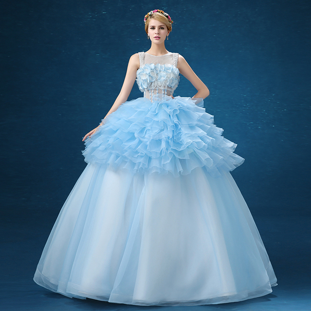 light blue full flower shoulder beading  luxury medieval dress ball gown siss princess Gown queen Cosplay Victorian Belle ball