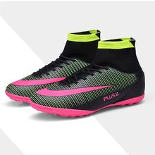 Football Shoes Men Indoor Cleats Adults Breathable TF Soccer Shoes Training Sports Sneakers Shoes Soft Turf Futsal High Top Shoe original nike mercurialx victory vi tf men s football shoes soccer sports sneakers men breathable soccer shoes for men 831968