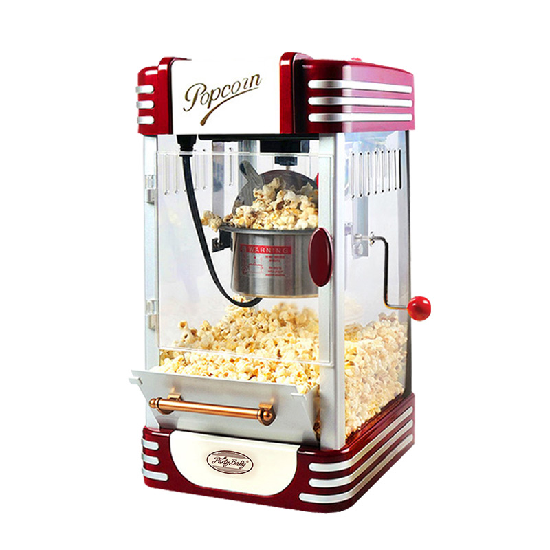 Electric American style popcorn machine mini Commercial automatic hot oil popcorn maker stainless steel non-stick pot 220V pop 06 economic popcorn maker commercial popcorn machine with cart