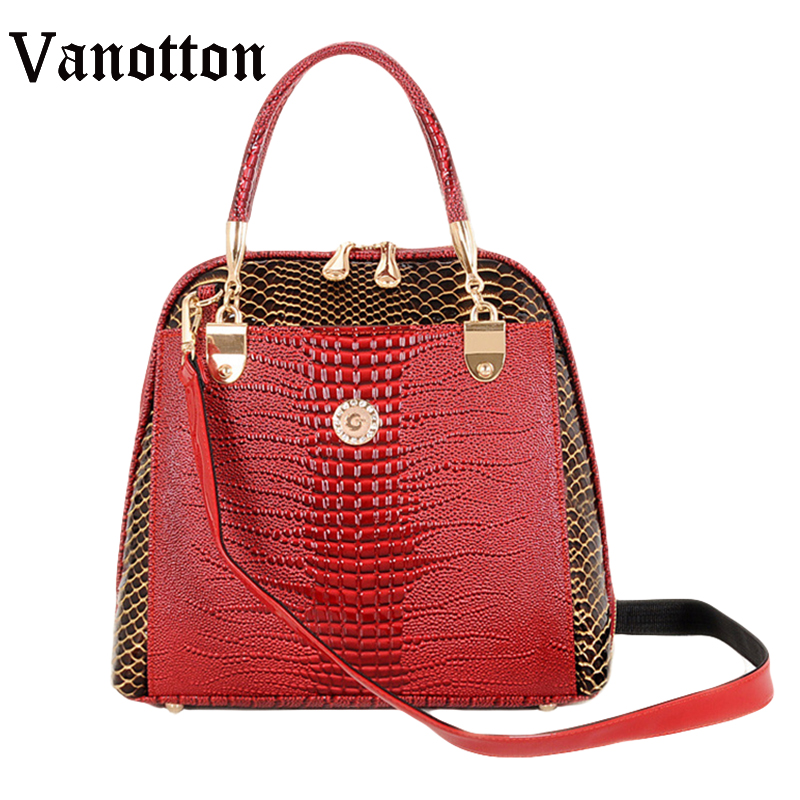 New Fashion Women's Shell Bag High Quality Designer Embossed Handbag Crocodile Pattern Pu Leather Tote Bag Ladies Handbags a suit of vintage engraved leaf necklace and earrings for women