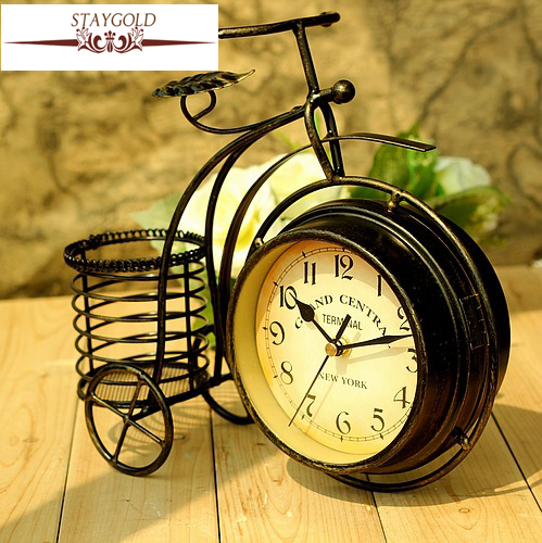 Wrought Iron Bicycle Table Clock Rural Double sided Quiet Home     Wrought Iron Bicycle Table Clock Rural Double sided Quiet Home Sitting Room Decorative  Table Clocks Desk Home Decor 28 24 8cm  in Desk   Table Clocks from