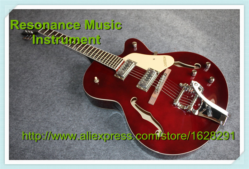 Top Quality Wine Red Hollow Body Jazz Guitar G6120 Grets Electric Guitar Chrome Hardware in stock free shipping gretsch 6120 hollow body orange stain electric guitar in stock