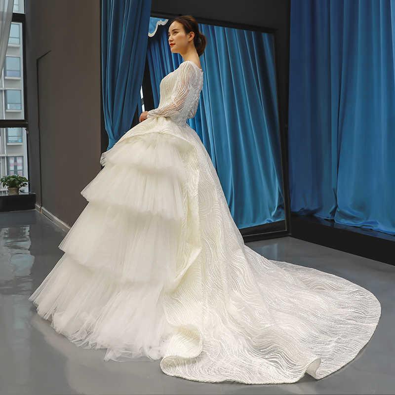 J66678 jancember אלגנטי חתונת שמלת כמו לבן ארוך שרוול כדור שמלת רצפת אורך עם רכבת כלה שמלת מיוחד עיצוב 2019