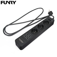 Original Funry C733 EU Power Strip Multi Function Portable Socket Outlet 250V 16A 3 Jack 4