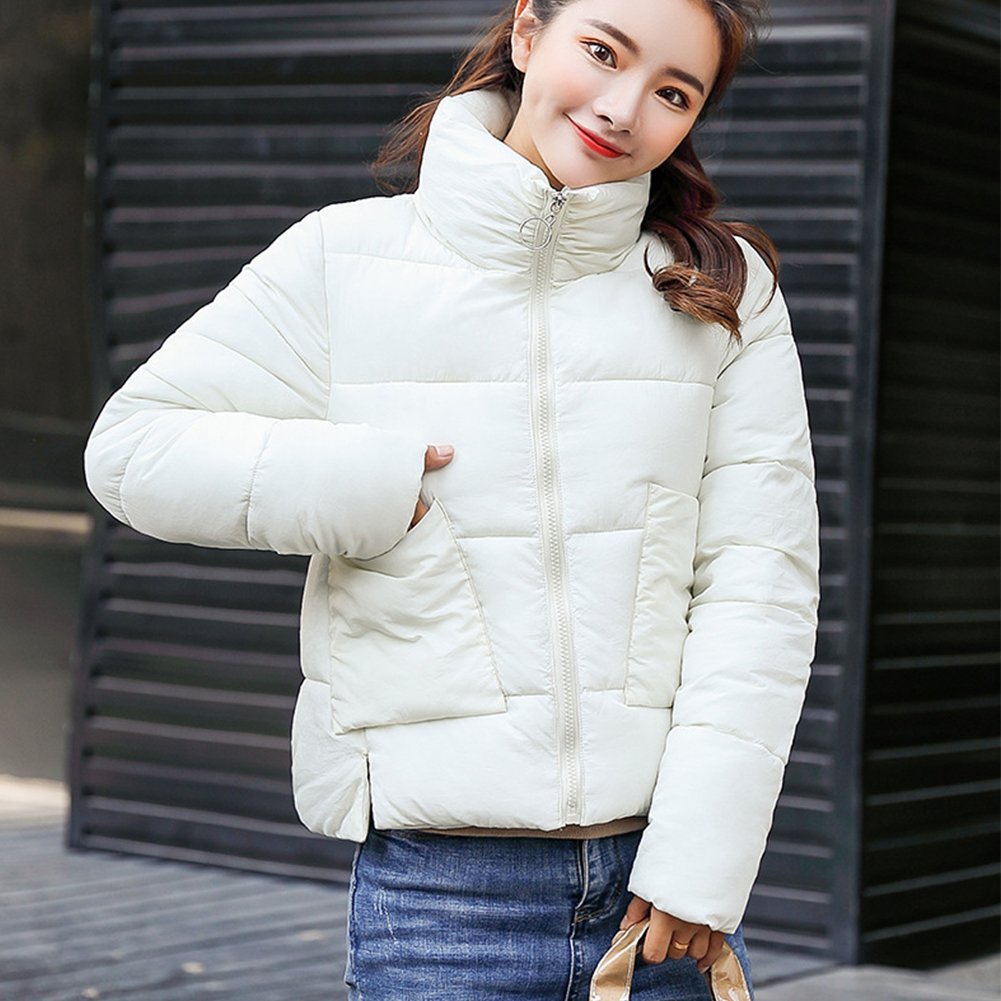 Winter Jacket Women Short Parka Korean Stand Collar Coat Solid Slim Padded Pocket Clothes For Girls Winter Parkas Women 2018