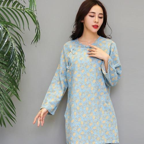 7f3a354333 Autumn Chinese Style Print Women Blouses Plus Size Floral Shirt Women Long  Sleeve Women Tops Artistic Womens Blouse