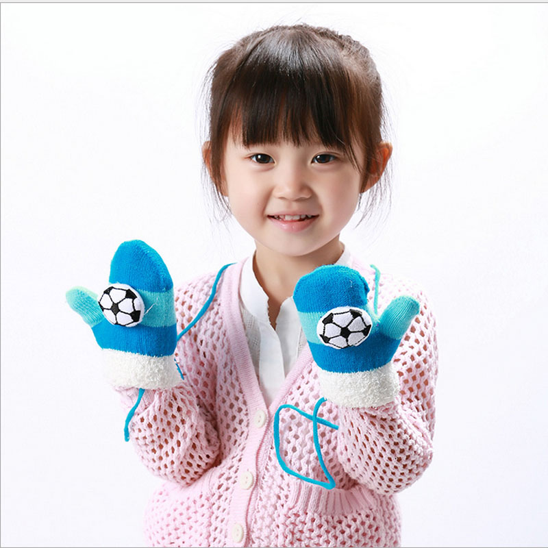 Jungen Mädchen Gestrickte Handschuhe Warme Handschuhe Für Kinder Winter Weichen Hohe Qualität Lanyard Luvas Abgedeckt Finger Handschuhe Reine WeißE