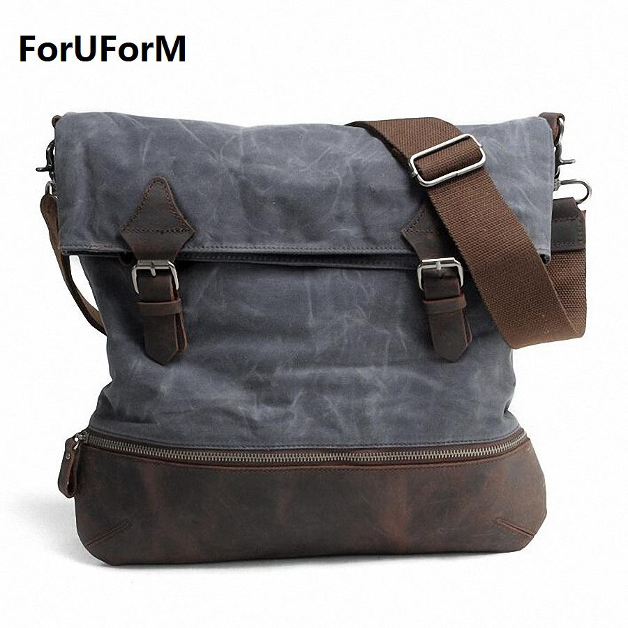 Vintage Men's Messenger Bags waterproof Canvas Shoulder Bag Fashion Men Business Crossbody Bag Printing Travel Handbag LI-1677
