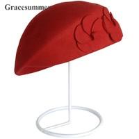 Korean Cute Women Fashion Double Flower Winter Wool Beret Hat Vintage British Style Felt Hat Cap