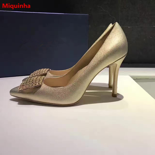 Miquinha Gold Crystal Square Buckle Design Pointed Toe Slip On Women Pumps  High Thin Heel Women 1714e56872a0