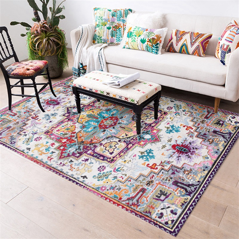Morocco Style Anti-Skid Jacquard Carpet For Living Room Bedroom Floor Mat Floral Pattern Absorbent Non-Slip Home Decor Area Rugs