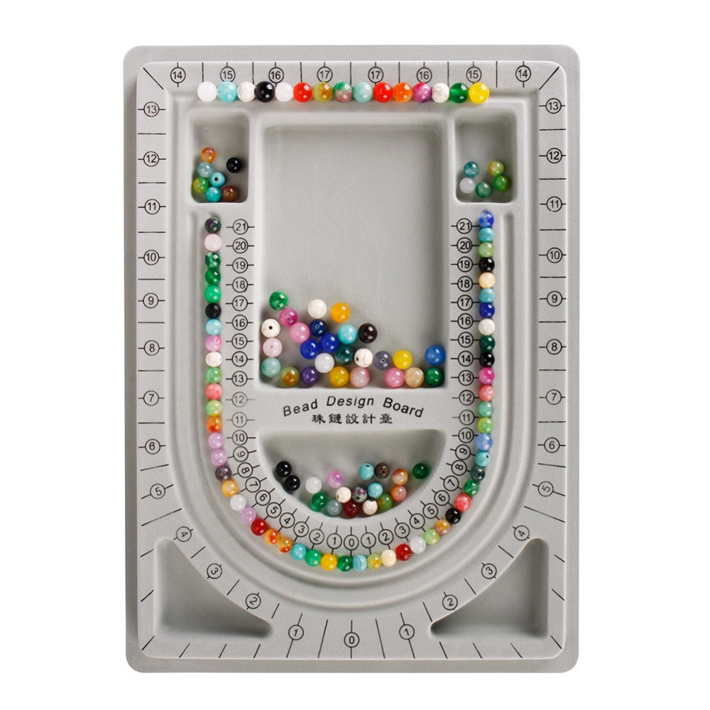 Flocked Bead Board Bracelet Necklace Beading DIY Jewelry Making Gray Organizer Tray Design DIY Craft Tool Accessories