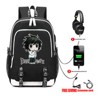 USB Charge Headphone Jack Laptop Bags Teens School book bag Multifunction Travel Bags for anime Death Note L Backpack 13 style