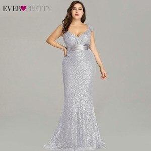 Image 4 - Vestidos דה פיאסטה 2020 פעם די חדש אלגנטי בת ים V צוואר שרוולים תחרה שמלות נשף בתוספת גודל המפלגה שמלת חלוק דה soiree