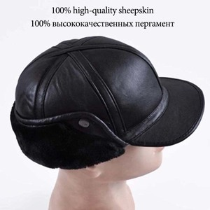 Image 5 - 2018 Winter Autumn Mens Sheepskin Leather Cap Warm Hat Baseball Cap With Ear Flaps Russia Genuine Leather Hats For Men