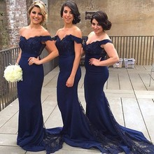 Elegant  Navy Blue Off the Shoulder Lace Appliques Beaded Wedding Party Dress Mermaid Sweep Train Long Bridesmaid Dresses
