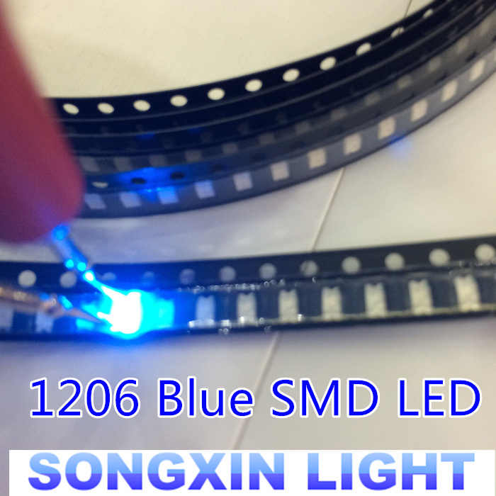 100 Uds envío gratis 1206 Led azul Super brillante SMD LED diodos 3,2*1,6*0,8 MM 460-470NM diodos emisores de luz SMD 1206 LED azul