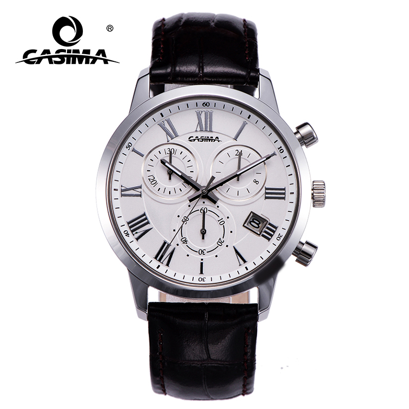 Men waterproof watch Quartz business watches casual dress leather  wristwatches Military clock relogio masculino CASIMA  #5120