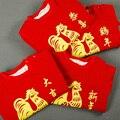 Año Nuevo chino Rojo Feliz Del Bebé Mono de Una Pieza Del Mameluco para 1-3 Años Bebé Niños Niñas Una Sola Pieza Chino Tradicional ropa