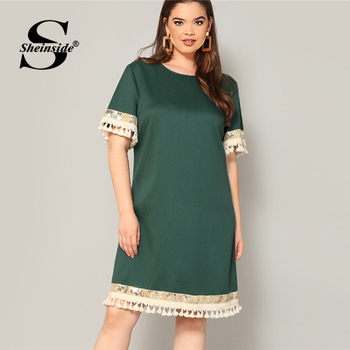 Sheinside Plus Size Elegant Sequin Detail Straight Dress Women 2019 Summer Fringe Sleeve Patchwork Dresses Ladies Midi Dress