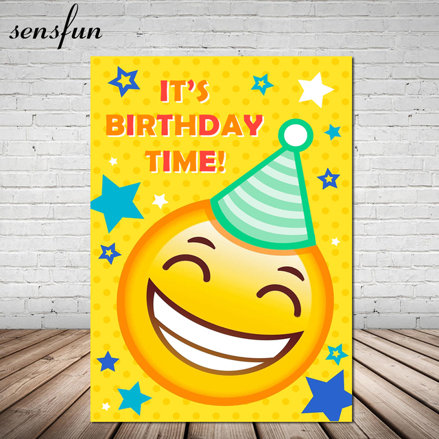 Yellow Happy Emoji Photography Backdrop Little Stars Children 1st Birthday Party Backgrounds For Photo Studio 7x5FT