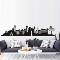 Large Size 228 55cm Las Vegas Wall Decal City Mural Living Room Self Adhesive Hollow Out