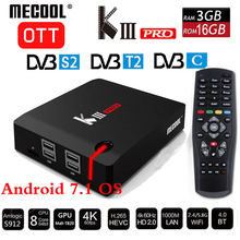 лучшая цена MECOOL KIII PRO DVB-S2 DVB-T2 DVB-C Decoder Android 7.1 TV Box 3GB 16GB K3 Pro Amlogic S912 Octa Core 64bit 4K Combo Set top box