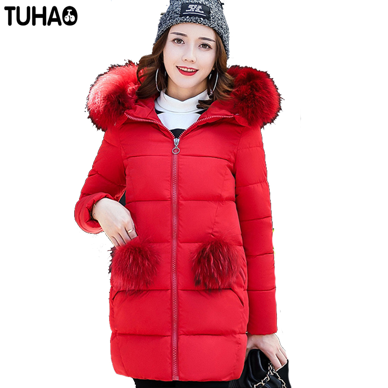 TUHAO 2017 New Long Winter Office Lady Thick Warm Cotton Coat Feather Hooded Slim Pure Color Fashion Jackets Large Size LW38 tuhao lady down cotton pure color manteau femme hiver thick warm jackets 2017 new autumn winter women hooded long coats lw20