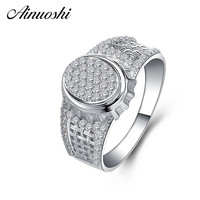 AINOUSHI 925 Sterling Silver Men Wedding Engagement Rings Sona Male Silver Accessaries Anniversary Party Rings Lovers Jewelry