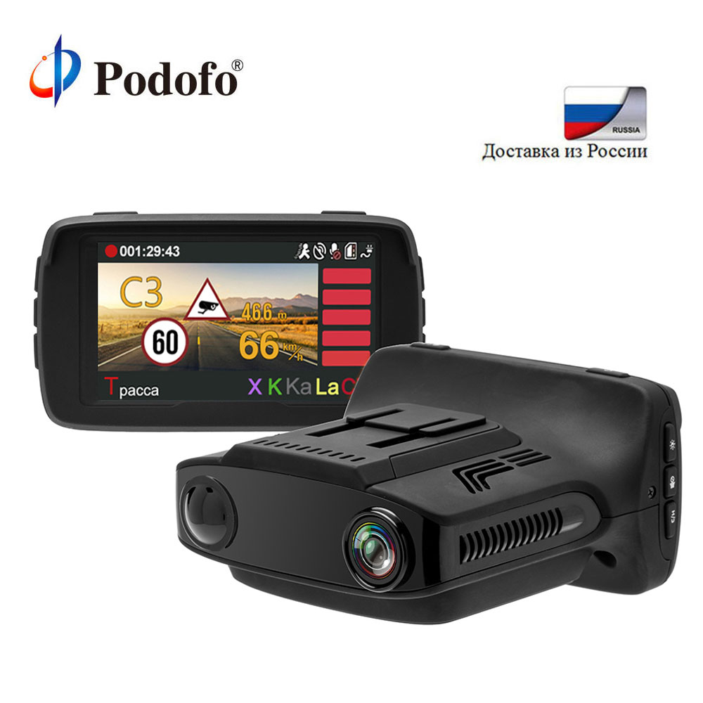 Podofo Ambarella Car DVR Camear Radar Detector Gps 3 in 1 LDWS Video Recorder Registrar HD 1080P Dash Cam X/K/Ka La/CT BlackBox