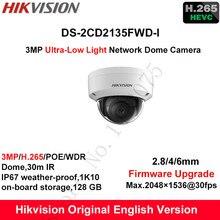 En Stock Hikvision 3MP Inglés DS-2CD2135FWD-I H.265 + Ultra-Baja Luz de la Cámara IP Domo CCTV WDR Cámara De Seguridad POE IP67 1K10