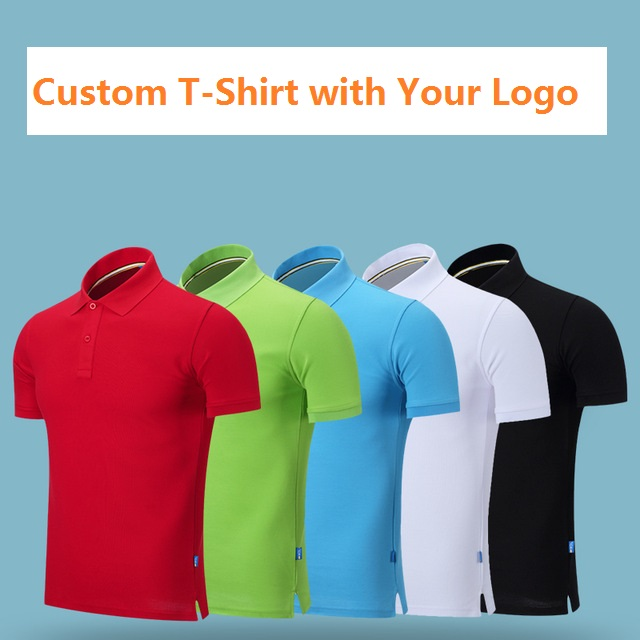 Diy Solid Color Cotton T Shirt Print Customized Logo Printing Polo