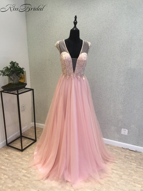 Vestido de festa nuevo vestido de noche largo 2018 v cuello Cap ...