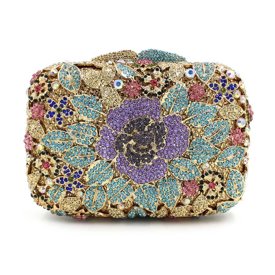 Women Luxury Fl Clutch Designer Inspired Handbags Female Evening Purse Fashion Bridal Wedding Bag Handmade Glitter Box In Bags From