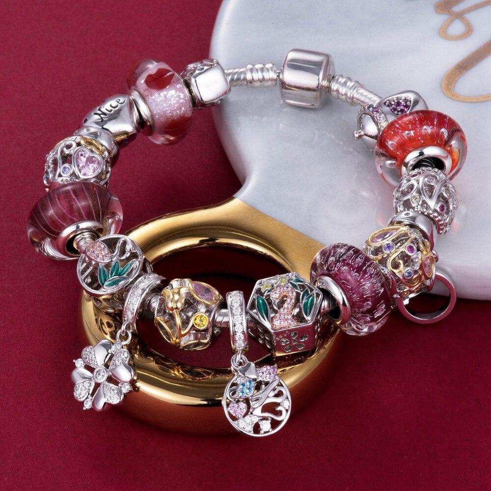 Video! Goldene Rose am Rebstock 925 Sterling Silber Perlen Charms - Modeschmuck - Foto 5