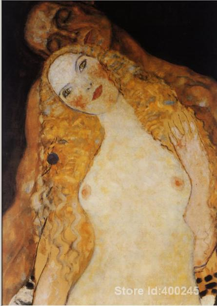 artwork of Gustav Klimt Adam and Eve Nude art reproduction paintings handmade High Quality image