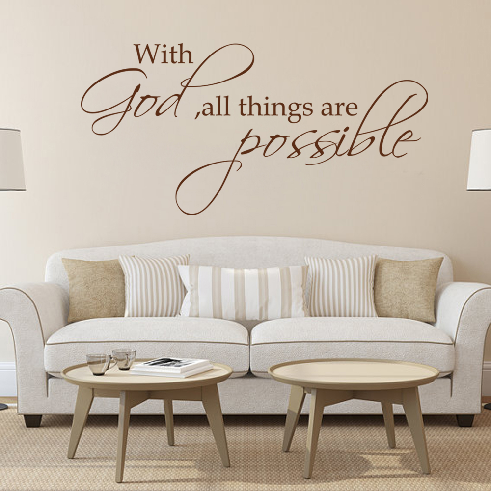 Delightful With God All Things Are Possible Religious Wall Decal Bible Verse Vinyl Art  Quote 28cm X 56cm In Wall Stickers From Home U0026 Garden On Aliexpress.com ...