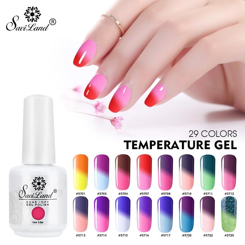 Saviland 15ml Thermal Temperature Change Uv Nail Gel Polish Mood Chameleon Varnish Color Lacquer