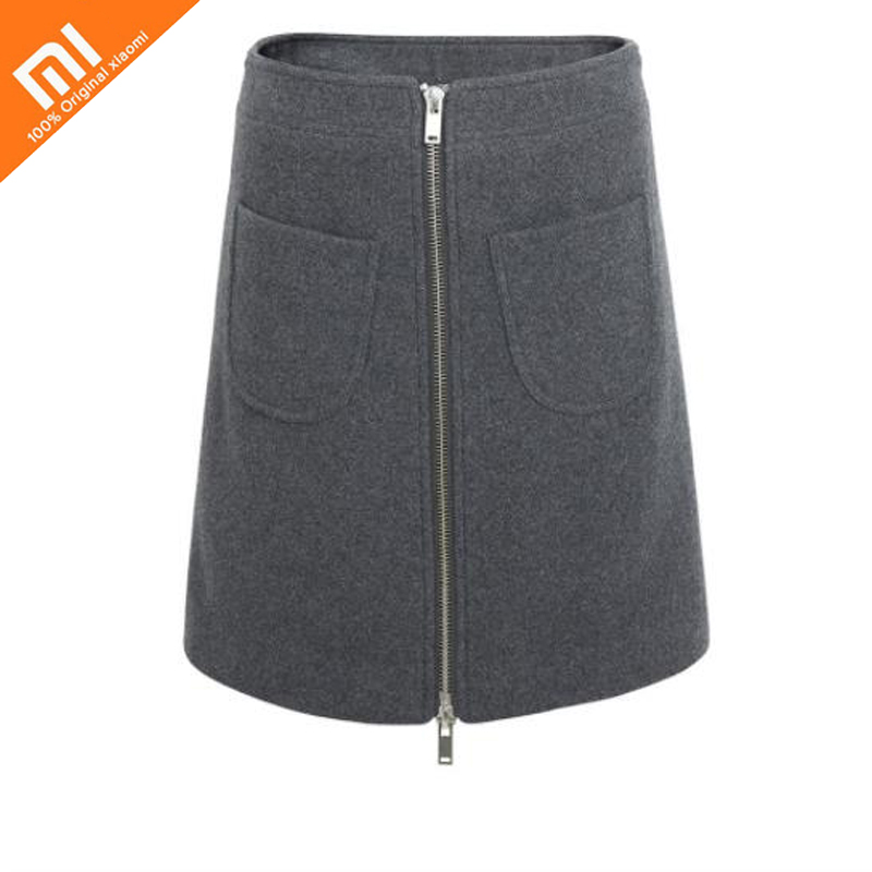 Original xiaomi mijia 10:07 zipper A word wool half skirt comfortable warm wild wear 55% wool women's skirt